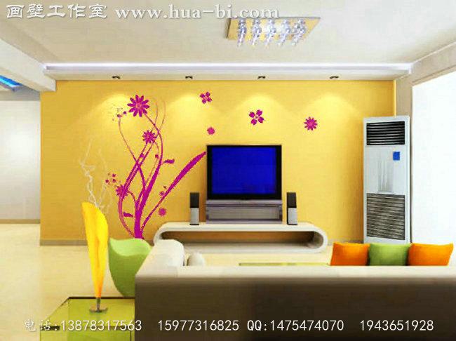 简约电视背景墙绘,粉红色的花朵纹饰   简约电视背景墙绘,藤蔓和落叶